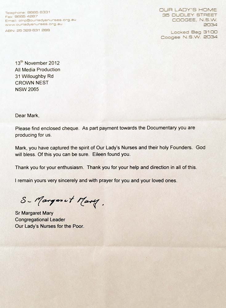 Our Lady's Nurses for the Poor - Thank-you Letter